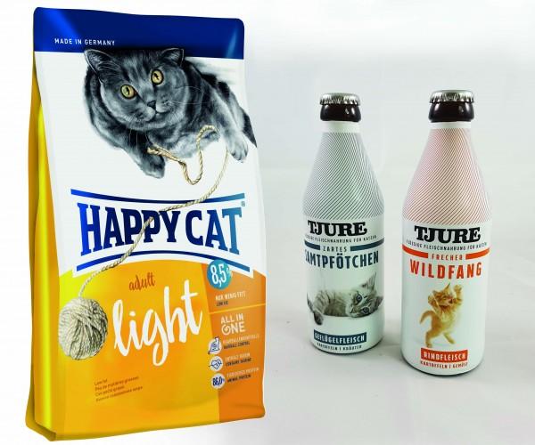 Happy Cat Adult Light 10 kg + TJURE für Katzen - Doppelpack Zartes Samtpfötchen & Frecher Wildfang