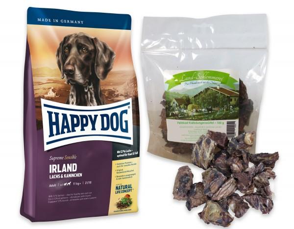 Feinkost Kalbslungenwürfel 3x100 gr. + Happy Dog Sens. Supreme Irland 2 x 12,5 kg