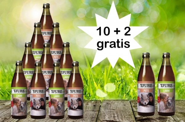 TJURE für Hunde - Mixpaket Lamm & Reis + Pute & Reis 10 + 2 GRATIS