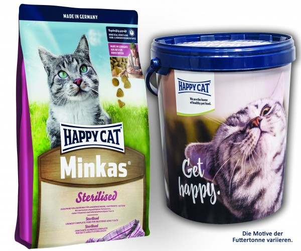 Happy Cat Medium Minkas Sterilised 2 x 10 kg + Happy Cat Futtertonne 20 Liter