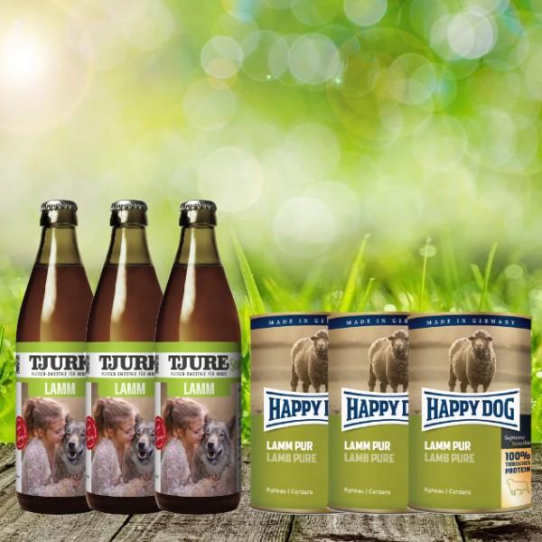 TJURE für Hunde Lamm & Reis 3 x 0,32 l + Happy Dog Dose Pur Lamm 3 x 400 g