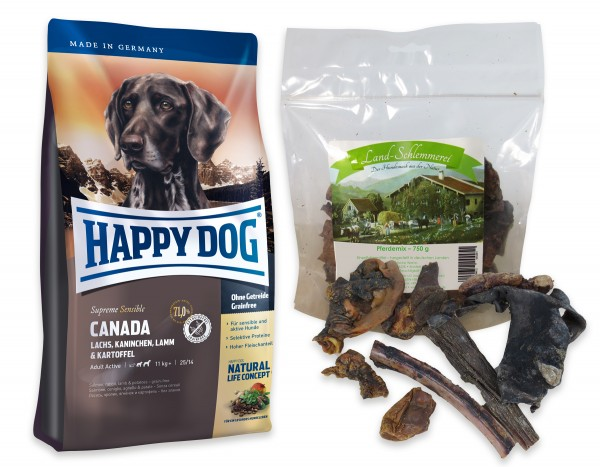 Pferde Mix 750 gr. + Happy Dog Sens. Supreme Canada 2 x 12,5 kg