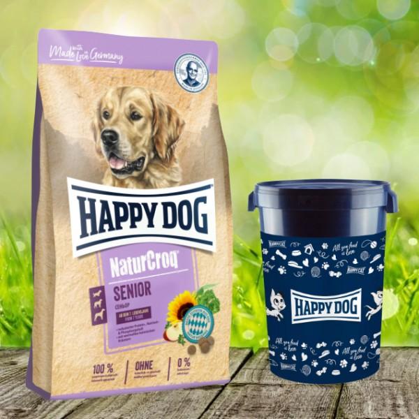 Happy Dog Premium NaturCroq Senior 15 kg inkl. Happy Dog Futtertonne 43 Liter