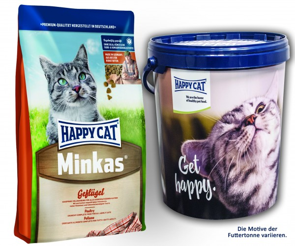 Happy Cat Minkas Geflügel 2 x 10 kg + Happy Cat Futtertonne 20 Liter