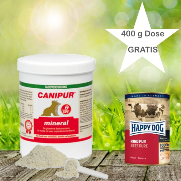 Canipur mineral 500 g + 400g Happy Dog Pur Dose *Gratis*