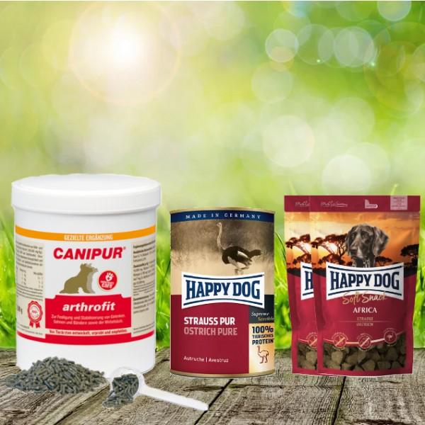 Canipur arthrofit 150 g + 2 HD Soft Snack Afrika + 1 HD Strauß Pur 400 g