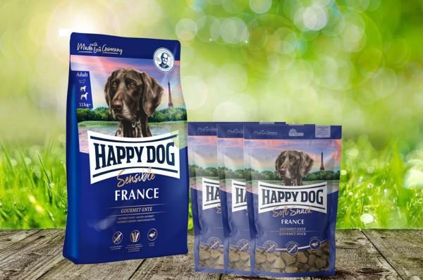 Happy Dog Supreme France 12,5 kg + 3 x 100 g. Happy Dog Soft Snack France geschenkt