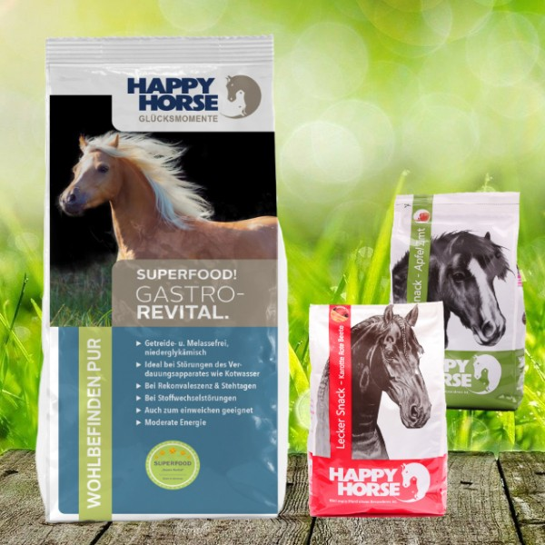 """Happy Horse Superfood """"Gastro Revital"""" 14 kg + 2 x 1 Kg Happy Horse Lecker Snack"""
