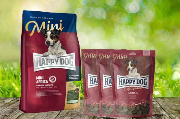 Happy Dog Supreme MINI Africa 4 kg + 3 x 100 g. Happy Dog Soft Snack MINI Africa geschenkt