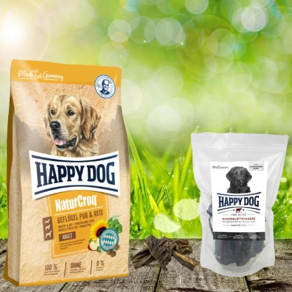 Happy Dog Premium NaturCroq Geflügel Pur und Reis 15 kg + HD Rinderblättermagen 500 g