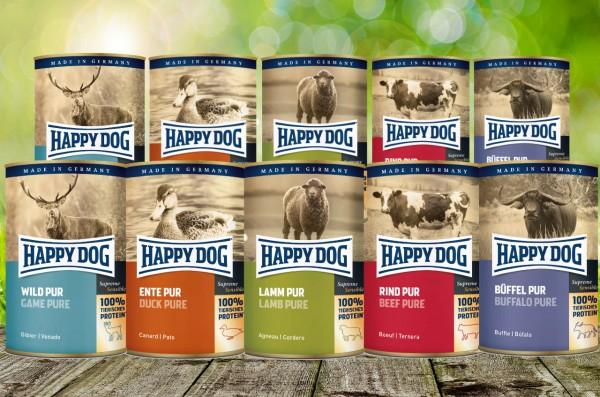 Happy Dog Dosen Pur 12 x 400 g - Mischtrays mit je 2 x 400 gr. sortiert