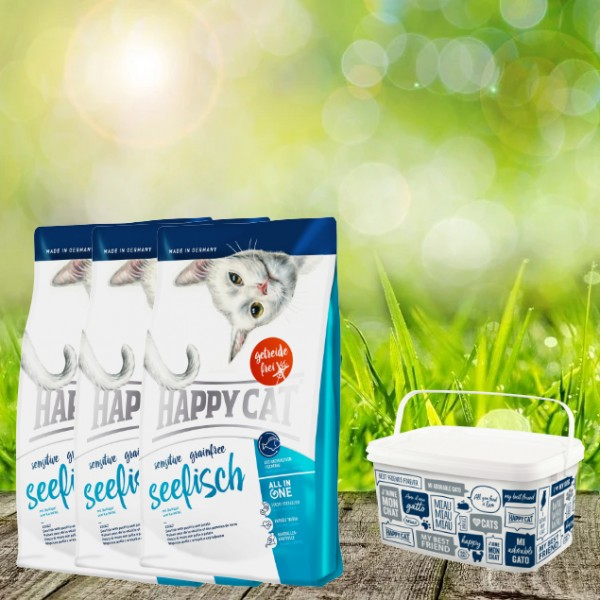 Happy Cat Sensitive Grainfree Seefisch 3 x 4 Kg + Happy Cat-Dog Futtereimer 6,2 Liter