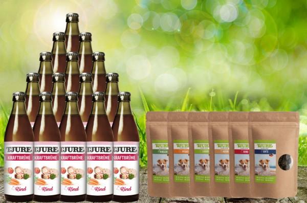 Tjure Kraftbrühe Rind für Hunde und Katzen 10 + 2 Aktion Plus Fleisch Snack 6 x 150 Gramm Sortiert
