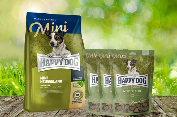 Happy Dog Supreme MINI Neuseeland 4 kg + 3 x 100 g. Happy Dog Soft Snack MINI Neuseeland geschenkt