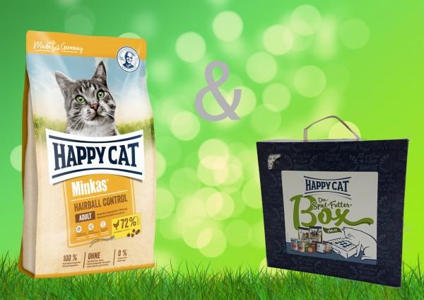 Happy Cat Minkas Hairball Control 10 kg + Spiel-Futter-Box Adult