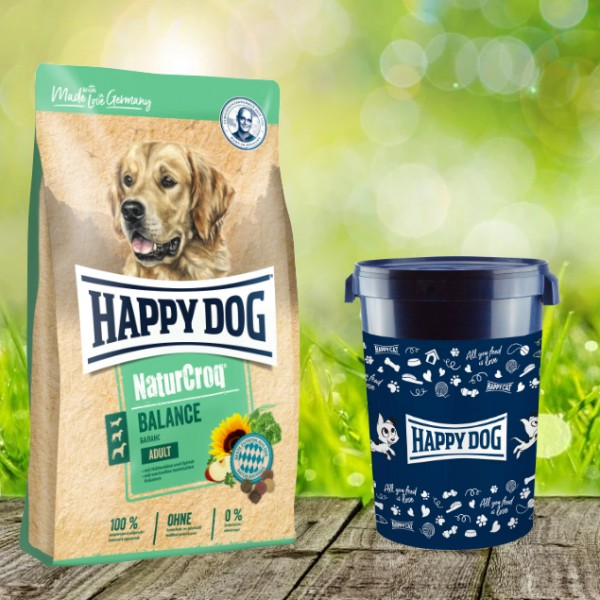 Happy Dog Premium NaturCroq Balance 15 kg inkl. Happy Dog Futtertonne 43 Liter