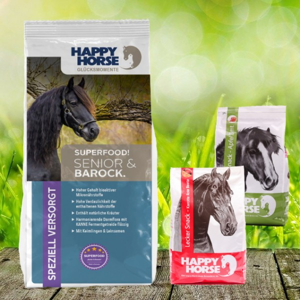 "Happy Horse Superfood ""Senior & Barock"" 14 kg + 2 x 1 Kg Happy Horse Lecker Snack"