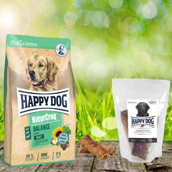 Happy Dog Premium NaturCroq Lamm und Reis 15 kg + HD Rinderstrossen 500 g