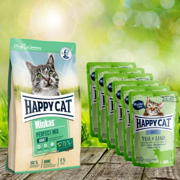 Aktion * Happy Cat Minkas Perfect Mix Geflügel, Fisch & Lamm 10 kg und 6 x 85 gr. All Meat Pouches K