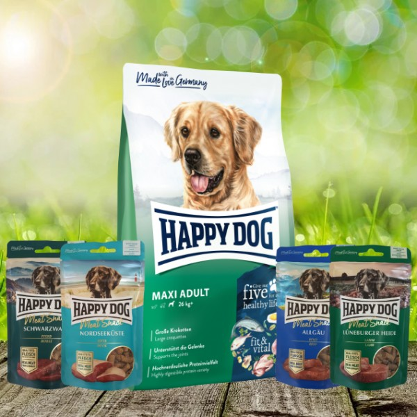 Happy Dog Fit & Vital Maxi Adult 14 kg + Meat Snack 4 x 75 g sortiert