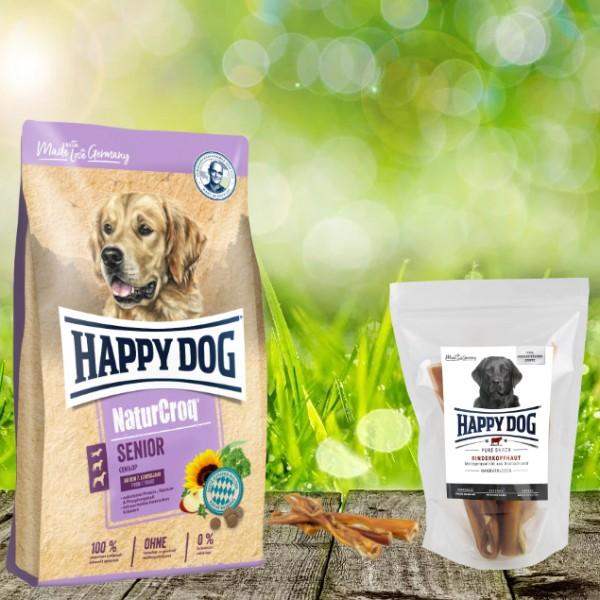 Happy Dog Premium NaturCroq Senior 15 kg + HD Rinderkopfhaut 500 g
