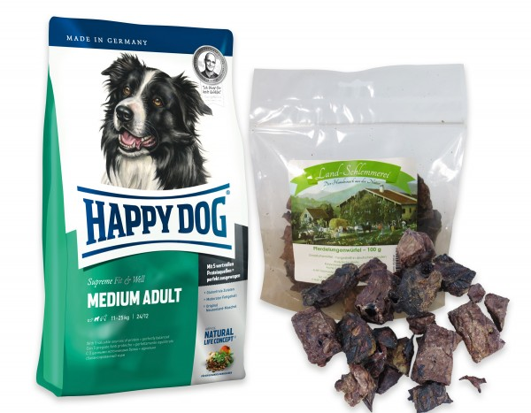 Pferdelungenwürfel 100 gr. + Happy Dog Fit & Well Medium Adult 12,5 kg