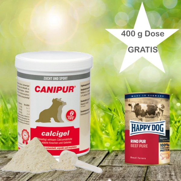 Canipur calcigel 500 g + 400g Happy Dog Pur Dose *Gratis*