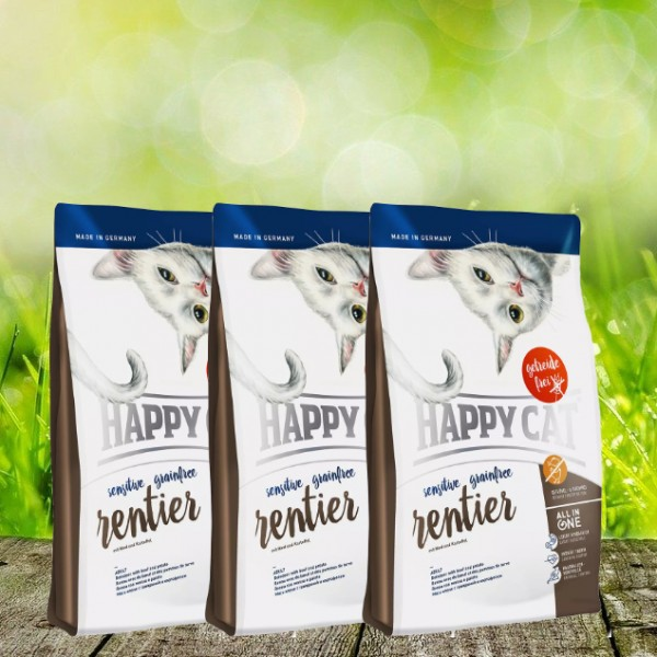 Happy Cat Sensitive Grainfree Rentier 3 x 4 kg
