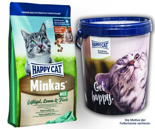 Happy Cat Minkas Mix Geflügel, Lamm und Fisch 2 x 10 kg + Happy Cat Futtertonne 20 Liter