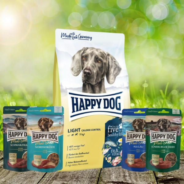 Happy Dog Fit & Well Light Control 12 kg + Meat Snack 4 x 75 g sortiert