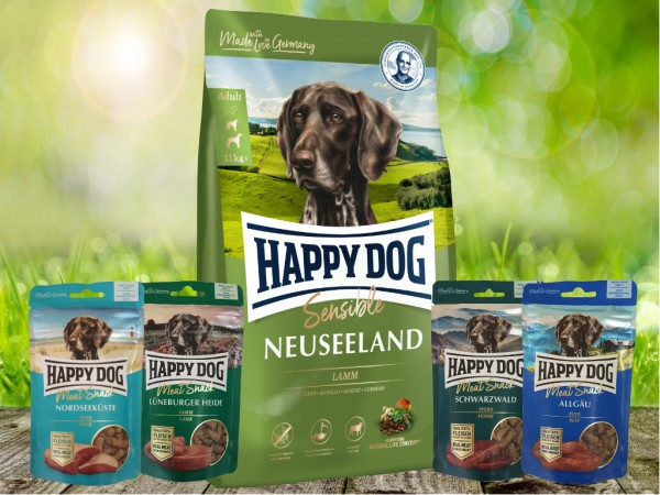 Happy Dog Supreme Neuseeland 12,5 kg + Meat Snack 4 x 75 g sortiert
