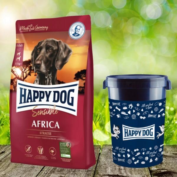 Happy Dog Supreme Sensible Africa inkl. Happy Dog Futtertonne 43 Liter