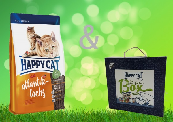 Happy Cat Atlantik Lachs Adult 10 kg + Spiel-Futter-Box Adult