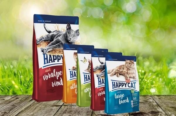 Happy Cat Adult Voralpen Rind 10 kg + 4 x 300gr. Probierbox sortiert