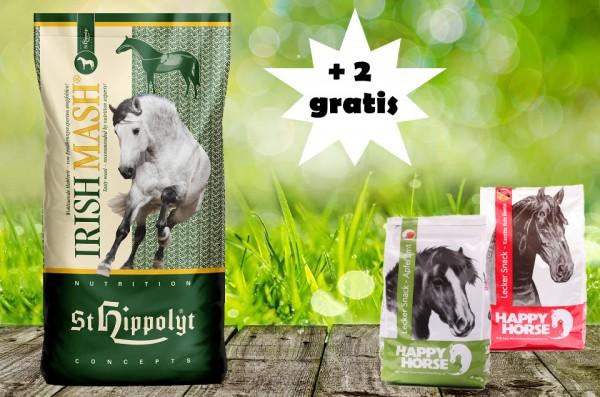 St. Hippolyt Irish Mash 15 kg und 2 x 1 kg Happy Horse Lecker Snack