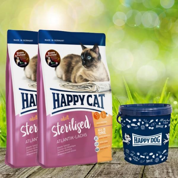 Happy Cat Supreme Adult Sterilised Atlantik-Lachs 2 x 10 kg + Happy Cat Futtertonne 20 Liter
