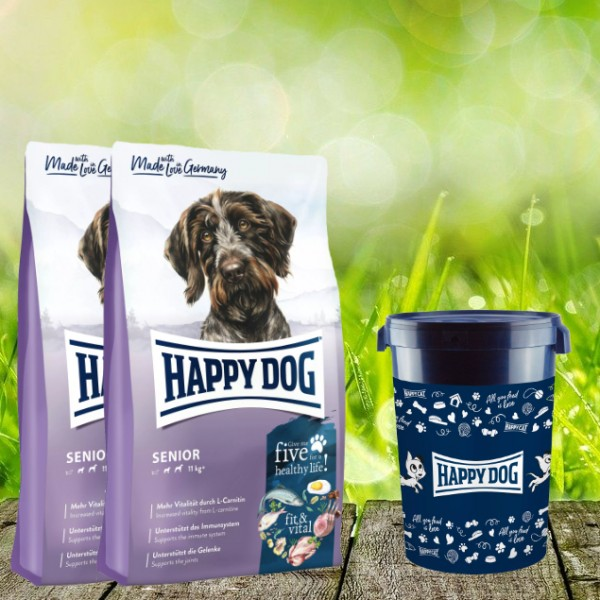 Happy Dog Fit & Vital Senior 2 x 12 kg inkl. Happy Dog Futtertonne 43 Liter