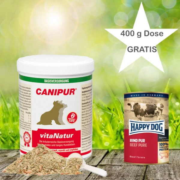 Canipur vitaNatur 1000 g + 400g Happy Dog Pur Dose *Gratis*