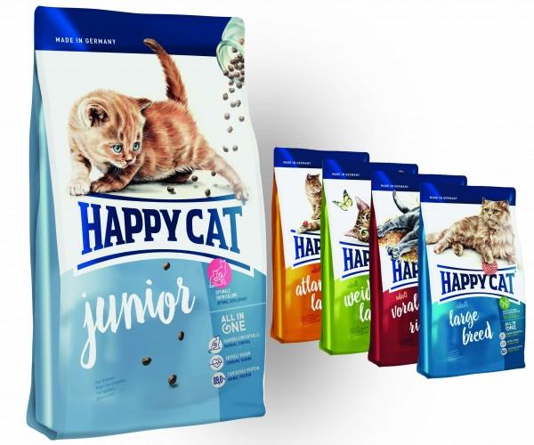 Happy Cat Junior 10 kg + 4 x 300 g Probierbox sortiert