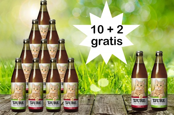 TJURE für Katze - Mixpaket Lamm & Reis + Pute & Reis 10 + 2 GRATIS