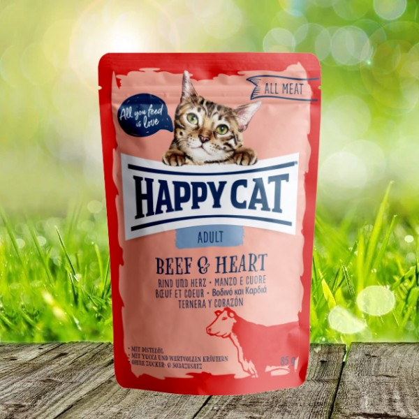 Happy Cat Pouches - All Meat - Pouch Adult Rind & Herz 24 x 85 gr.