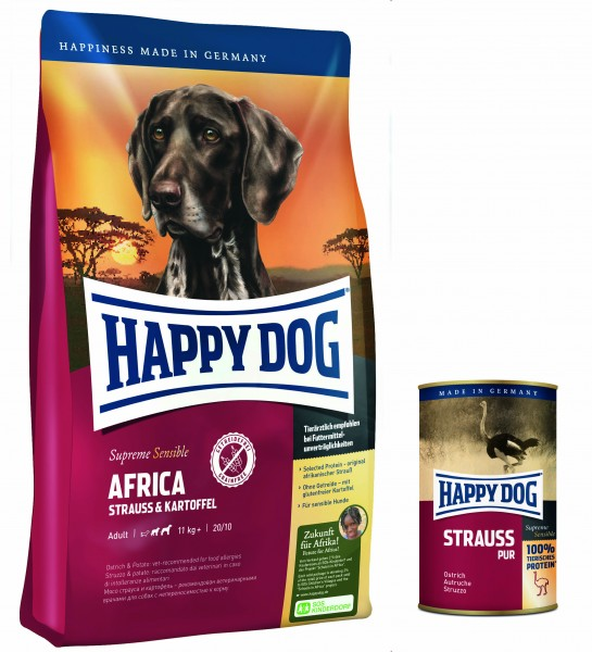 Happy Dog Supreme Sensible Africa inkl. Strauss Pur Dose