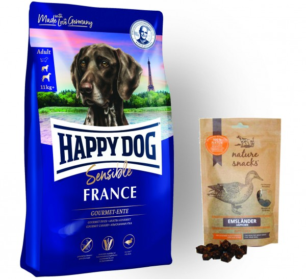 Happy Dog Sensible France und Nature Snack Emsländer Häppchen Ente
