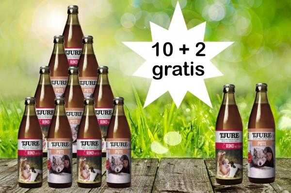 TJURE für Hunde - Mixpaket Pute & Reis + Rind & Kartoffel 10 + 2 GRATIS
