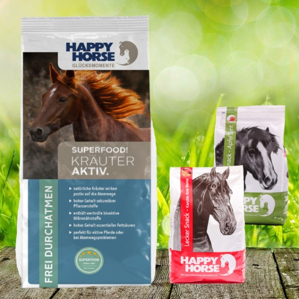 "Happy Horse Superfood ""Kräuter Aktiv"" 14 kg + 2 x 1 Kg Happy Horse Lecker Snack"