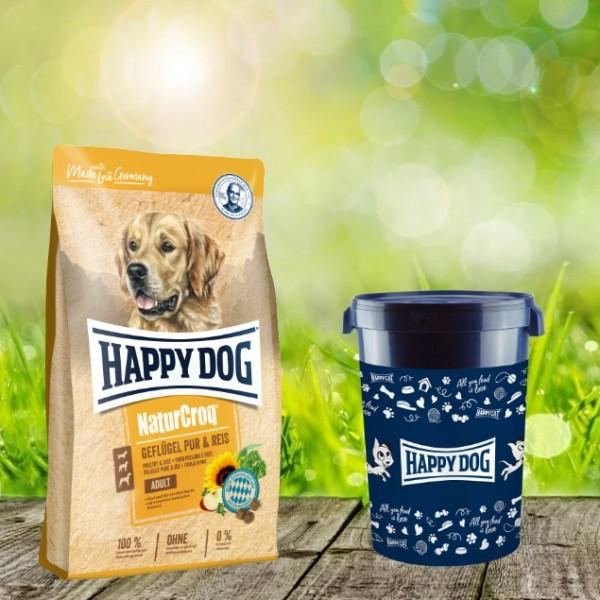 Happy Dog Premium NaturCroq Geflügel Pur & Reis 15 kg inkl. Happy Dog Futtertonne 43 Liter